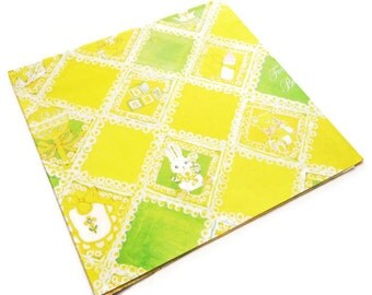 Vintage Wrapping Paper - Yellow New Baby Shower with Accessories - One Full Sheet Gift Wrap