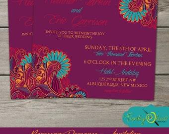 Moroccan Wedding Invitation, Shower, Rehearsal Dinner, Birthday, Elegant, Bold, Bright, Paisley,  DIY, Printable, Purple, Turquoise, Orange