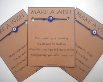 15 Dark Blue WISH STRINGS Bulk Evil Eye Wholesale Stocking Stuffer Favor Offer x 15 Cobalt Blue