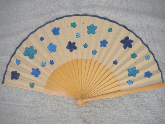 MTO Hand Painted Wooden Folding Hand Fan FLORAL Mixed Blues by Kate Dengra Spain