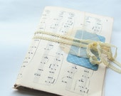 Collage kit vintage papers. Blue and brown. Music sheet ribbons leaf map letters marble paper