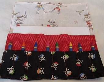 Pirates crayon holder pirate birthday pirates crayon roll pirate stocking stuffer