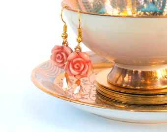 Rose Earrings Pink Fairytale Earrings