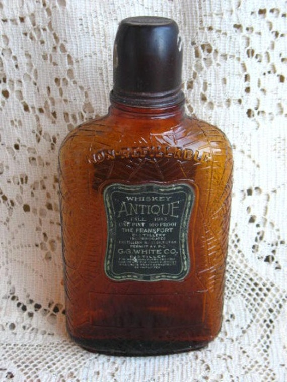 Antique Prohibition Whiskey Bottle Spider With Web Pharmacy
