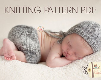 KNITTING pattern newborn bonnet shorts set cables may sell all finished items photography prop