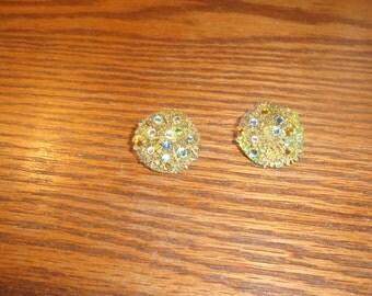 vintage clip on earrings goldtone filigree rhinestones