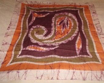 vintage ladies head neck scarf orange purple print