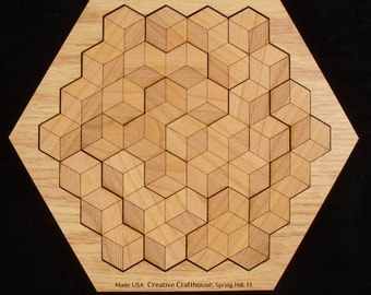 Hexagon 10 - Wood Puzzle - Assembly Puzzle - Logic Puzzle