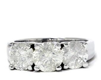 Diamond 2.75CT Three Stone Ring 14K White Gold