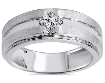 Mens .40CT Princess Cut Diamond Wedding Ring Anniversary Band Brushed 14K White Giold 8.5MM Wide Size 7-12