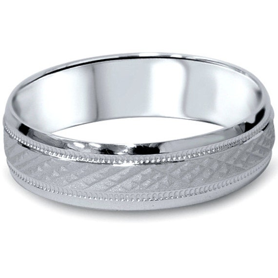 6mm 14K White Gold Brushed Wedding Band 6MM Mens Ring Mans