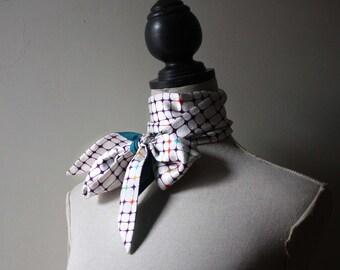 Extra Long Skinny Silk Scarf. Organic Teal Batiste and Vintage Kimono Silk. Écharpe de soie et coton bio.