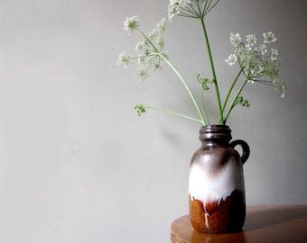 West Germany Vintage Pottery Vase. Earth Tones, Brown, Baby Blue, Pink.