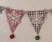 Glittered Snowflake Rustic Premium Christmas Pennant Banner