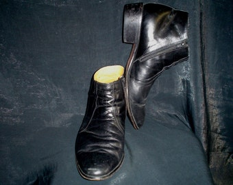 80s 12 EEE Wide Mantoni Black Mens Boots SHOES Leather Side Zip