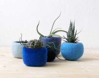 blue home decor / succulent planters / air plant display / Modern planters / Blue felt vases / gift for her / cute cactus planter