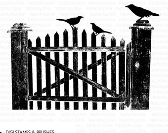 Fence with Birds - Old Crooked Fence - Digital Stamp and Brush - INSTANT DOWNLOAD - for Cards, Scrapbooking, Journaling, Collage, Invites