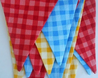 Red, Blue and Yellow Fabric Banner / Picnic, Barbeque or Party Banner/ Bunting Fabrics/ Photo Prop/   Large Flags
