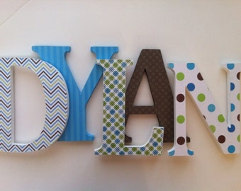 Wooden letters for nursery  Blue , green and brown themed letters