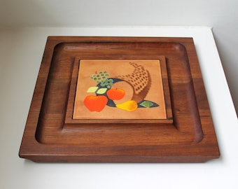 SALE Vintage Ernest Sohn Cheese Board Tray Enamel Walnut Serving Appetizer