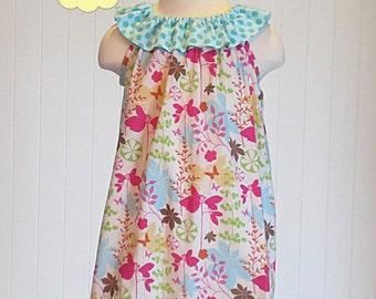 Ruffle Neck Dress Sewing Pattern, PDF Sewing Pattern, Ruffle Neck Dress Pattern, Pillowcase Dress Sewing Pattern, Girls Dress Sewing Pattern