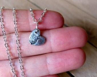 Broken Bark Heart // Fine Silver Pendant Necklace // PMC Jewelry // Custom Length // Botanical // Sympathy Gift // Strength