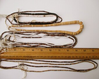 10 strands of vintage heishi beads-native american, shell