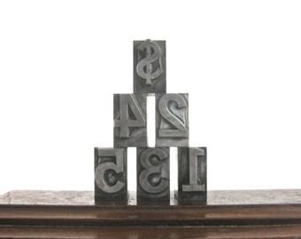 Vintage Letterpress Number Printer Blocks set