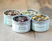 Herbal Tea Gift Set, Four Tea Tins of Your Choice, Loose Leaf Handmade Organic Teas