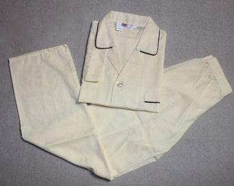 vintage 1970's -BVD- Men's pajamas. 'New Old Stock'. Buttermilk with Brown piping - Poly / Cotton batiste. Medium