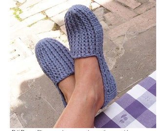 Hers Denim ribbed Loafers - One-Piece Basic Slipper CROCHET-PATTERN - Instant Download