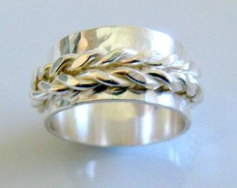 Men Wedding Band. Ethnic  Swinging Ring. Sterling Silver Braided Spinner Ring. Handmade Jewelry