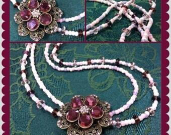 Pink & Purple Flower Necklace