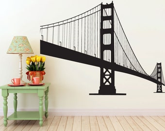 HUGE 7 foot Golden Gate Bridge vinyl Wall DECAL- San Francisco urban city interior design, sticker art, room, home and business decor