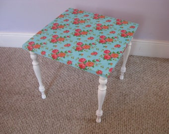 Vintage Small Table with Bright Floral Fabric