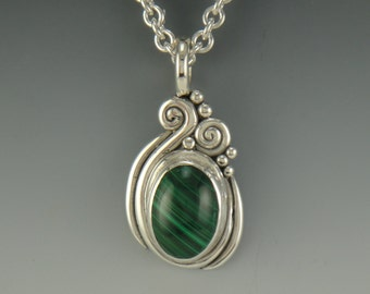 P650- Sterling Silver Malachite Pendant- One of a Kind