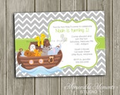 PRINTABLE INVITATION Chevron Grey and Green Noah's Ark - Birthday Party or Baby Shower Invitation - Memorable Moments Studio