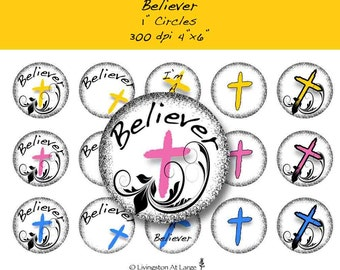 Believer 1 Inch Editable Circle Bottle Cap Images INSTANT DOWNLOAD LLBLVR01