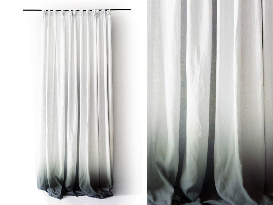ombre linen drapes grey fade to white pinch by lovelyhomeidea. Black Bedroom Furniture Sets. Home Design Ideas
