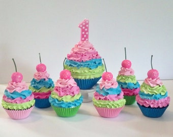 Fake Cupcakes Birthday Photo Props, Candy Land Party Decorations, Children's Shop Window Displays, Fun Colorful Kitchen Decor
