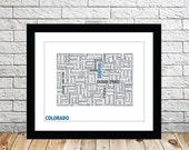 Colorado Typography Map 8x10 Print