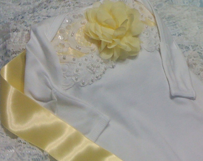 Newborn baby girl take home Lace beaded layette gown