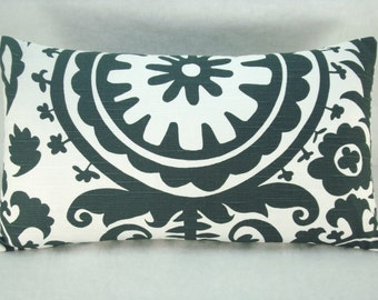 Charcoal and White Suzani Decorative Modern Accent Toss Lumbar Pillow 10X18 Pillow Cover