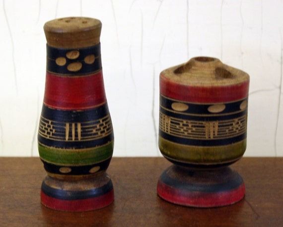 Vintage Mexican Tribal Wooden Shaker Toothpick Holder