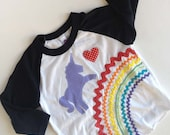 Rainbow Unicorn Shirt 3/4 length sleeve Raglan Baseball T girls