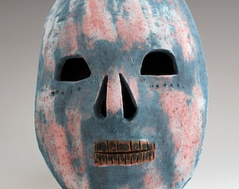 Ceramic skull mask, Day of the Dead, Dia de los muertos with pink and green lichen glaze