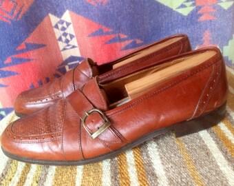Italian loafers leather vintage M 9