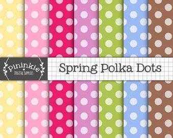 Polka Dots Digital Paper, Polka Dot Scrapbook Paper, Instant Download, Digital Scrapbooking, Polka Dot Digital, Card Making, Commercial Use