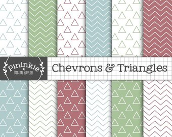Triangle Digital Paper, Chevron Scrapbooking Paper, Instant Download, Commercial Use