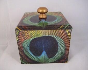 Peacock Feather Trinket Box wooden handmade